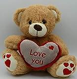 ML Oso de Peluche con un Corazon con Frase romantica Love You y Huellas de Corazon Oso DE Peluche para Bebe de 35cm (Marron)