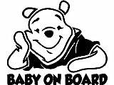 Baby on Board Winnie De Pooh Baby Decal Sticker Vinyl for Car Windows (5.5' inches (Black))