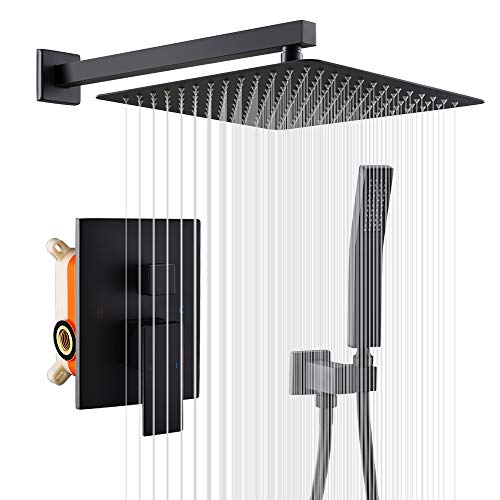 Fantastic Deal! KOJOX 12 Inch Matte Black Shower System with High Pressure Rain Shower Head, Handhel...