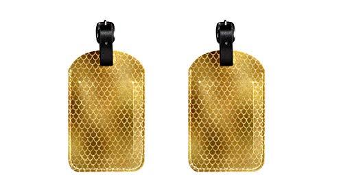Escalas de Sirena de Oro 2 Maleta de Etiqueta de Equipaje de Cuero de PU, Correa de Cuero Ajustable Resistente a los arañazos, diseño Elegante Paquete de 2
