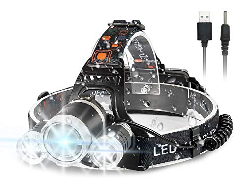 Newlemo Linterna Frontal, Linterna LED Recargable Cabeza con 3 Luces - 4...