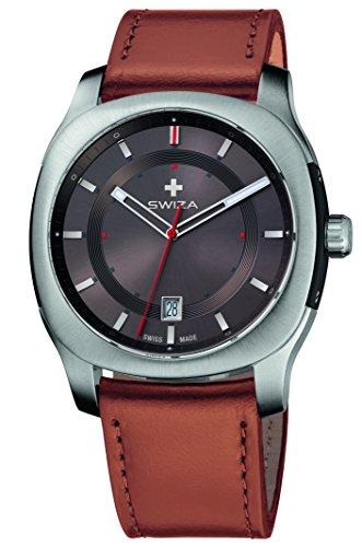 SWIZA Nowus Gent, Schweizer Qualitäts-Quarzlaufwerk, Gehäuse Edelstahl, Saphirglas, Hellbraunes Lederarmband Luxus Uhr Made in Swiss