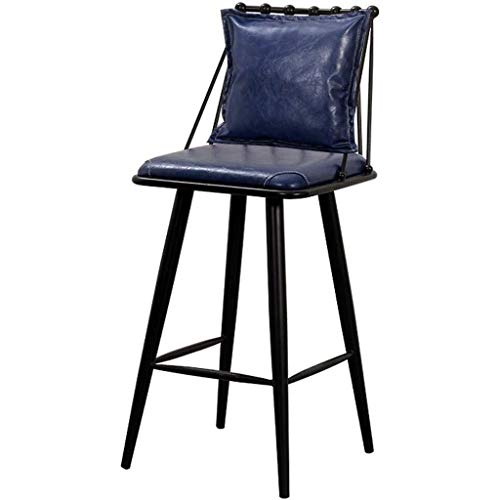 XNLIFE barstoel American Bar kruk rugleuning tafel en stoelen barkruk industrie wind smeedijzer met zachte lederen bekleding retro reception barkruk zithoogte 65 cm bureaustoel