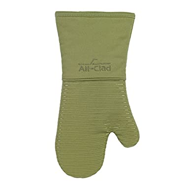 All-Clad Textiles Deluxe Heat and Stain Resistant Oven Mitt. Made of Silicone Treated Heavyweight 100-Percent Cotton Twill, Machine Washable, 14 x 6.5 Inches, Sage Green