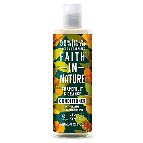 Faith in Nature Natürlicher Grapefruit & Orange Conditioner, Belebend, Vegan & Ohne Tierversuche, Frei von Parabenen und SLS, für Normales bis Öliges Haar, 400 ml