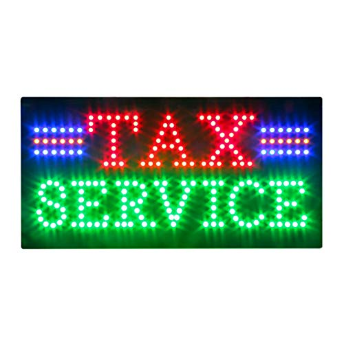 Income Tax Service Sign, Super Bright Electric Advertising Display Board for Tax Preparation Service Income Tax Service Business Shop Store Window Home Decor (HST0429)
