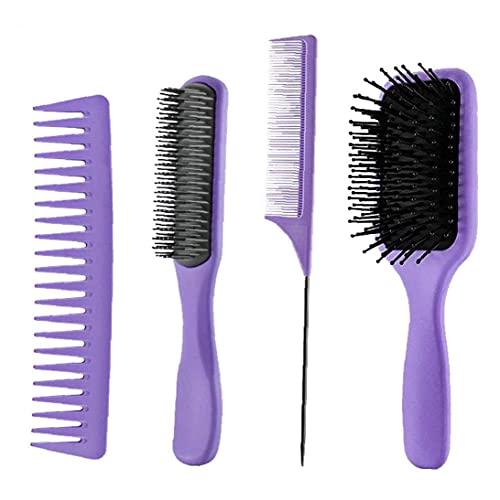 Pennello per capelli Pennello Air Cuscino Pennello Ampio pettine denti Attrezzature per parrucchieri Purple 4pcs