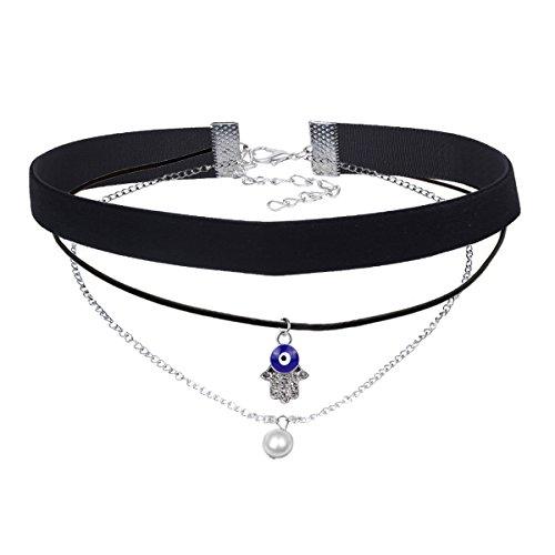 MingJun Tassel Gothic Choker Halskette Schwarz Velvet Vintage Fashion Chain Choker mit Anhänger für Damen