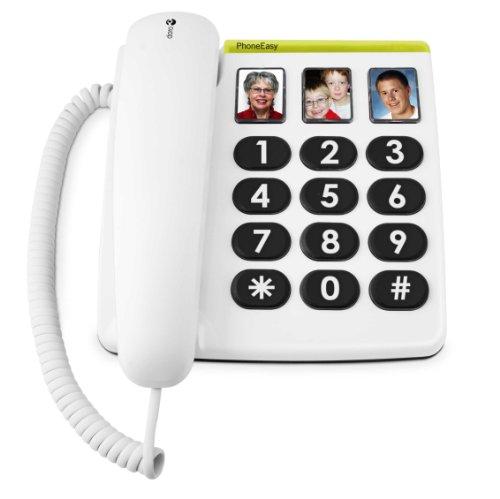 Doro PhoneEasy 331ph Teléfono Fijo con Cable para Personas Mayores con Teclas Grandes, Marcación Rápida y Compatible con Audífonos (Blanco) [Versión Española y Portuguesa]