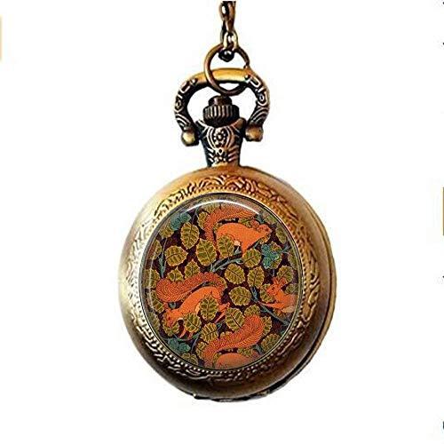 Squirrels in Autumn- Art Nouveau Jewelry - Squirrels Pocket Watch Necklace- Squirrel Pocket Watch Necklace- Wildlife Lover