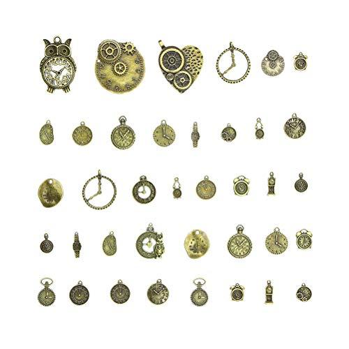 SUPVOX 38 UNIDS Bronce Reloj Steampunk Reloj Rueda Engranajes Dientes Encantos Colgante para DIY Joyería Pulsera Conjunto de Accesorios