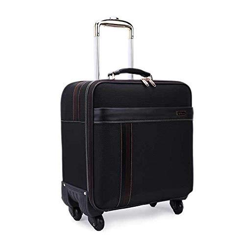 LLKK Juego de equipaje de viaje de 40,6 cm, maleta portátil con ruedas giratorias, bolsa de viaje de negocios, resistente a los arañazos (color negro, tamaño: 16 pulgadas)