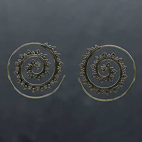 WANGSHI Pendientes Exagerados En Forma De Engranaje Espiral De Loto Donuts Pendientes Sencillos Niñas Cien Pendientes A4 Bronce