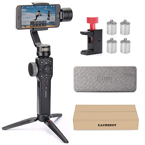 Zhiyun Smooth 4 with Counterweight, 3-Axis Handheld Gimbal Stabilizer with Focus Pull & Zoom for iPhone Xs Max Xr X 8 Plus 7 6 SE Android Smartphone Samsung Galaxy S10 S9+ S9 S8+ S8 S7 S6 Edge Black