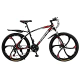 N&I Beach Snow Bicycle Adult 26 inch Mountain Bike Double Disc Brake City Road Bicycle Trail High-Carbon Steel Snow Bikes Variable Speed Mountain Bicycles C 24 Speed B 21 Speed