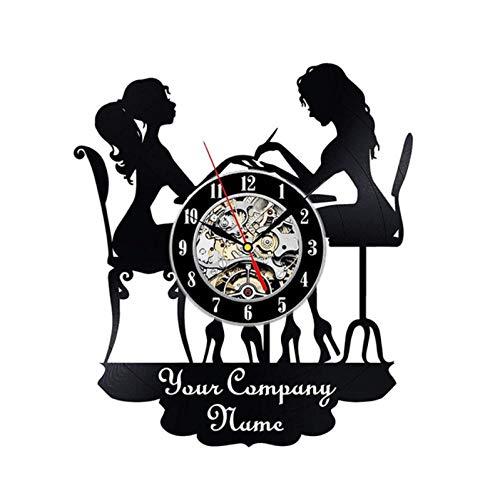 Reloj de Pared de Vinilo Mujer manicura Disco Retro Arte Creativo Regalo Moderno decoración del hogar Reloj 12 Pulgada(Sin Luces)