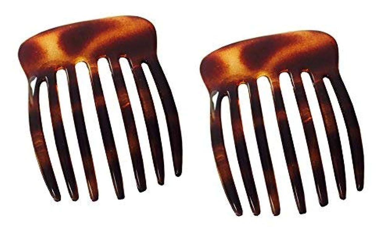 抽選良性感性Parcelona French Fingers Seven Teeth Large 2 Pieces Celluloid Acetate Tortoise Shell Hair Side Hair Combs [並行輸入品]