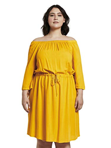 TOM TAILOR MY TRUE ME Damen Kleider & Jumpsuits Schulterfreies Midi-Kleid mit verstellbarem Bund deep golden Yellow,46