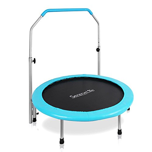 "Serenelife Portable & Foldable Trampoline - 40"" dia Springfree Rebounder Jumping Mat Safe for Kid w/ Padded Frame Cover and Adjustable Handlebar and Carry Bag"
