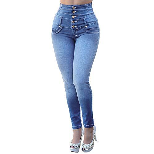 MEIbax Leggings Vaqueros Pantalones para Mujeres de Cintura Alta Ajustados Tallas Grandes Push up de Mezclilla Delgado Bolsillos Leggins Jeans Skinny Mallas elásticas Leotardos