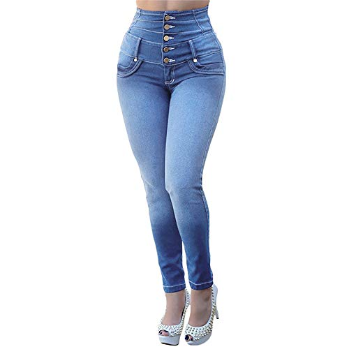 OSYARD Jeans Hosen Damen Vintage Lässige Dünn Denim PantsHüftjeans Jeggings High Waist Stretch Schlank Hochbund Knopfleiste Jeanshose Röhrenjeans Push Up Hose