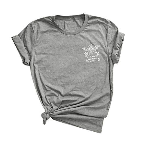 Top Femmes Col Rond Couleur Unie T-Shirt Lettre à Manches Courtes Little Bee