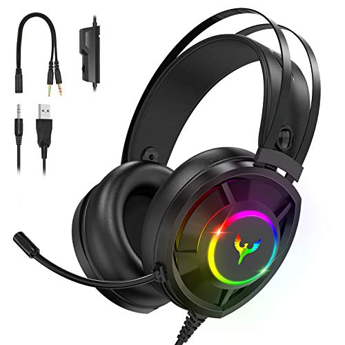 Blade Hawks RGB Gaming Headset, USB Headset PS4 with 2 in 1 PC Adapter, Headset Wired with 3D Surround Sound, Air Permeable Earmuffs, Noise Canceling Mic for PS4 Xbox One PC Laptop Mac Smart Phone