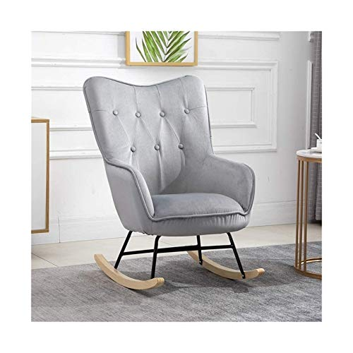 lilizhang Relax Rocking Chair, Upholstered Fireside Rocker Armchair for Living Room Bedroom Office, Lounge High Back Leisure Chair, Oyster Wing Back Nursing Chair, (Color : Gray)