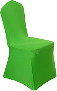 iEventStar 6 Pieces Stretch Polyester Spandex Dining Chair Cover for Wedding Banquet Party (6, Green)