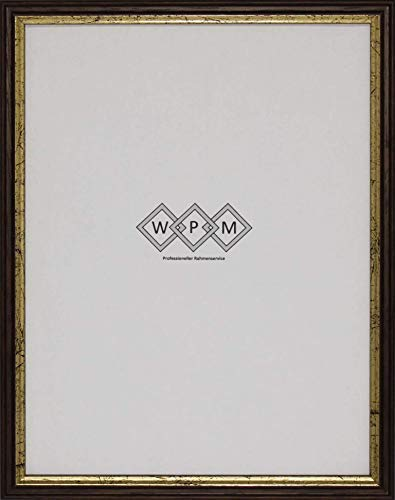 Bilderrahmen aus Holz, Braun/Gold, DIN A4, WPM - Wechselrahmen Profil 6-10