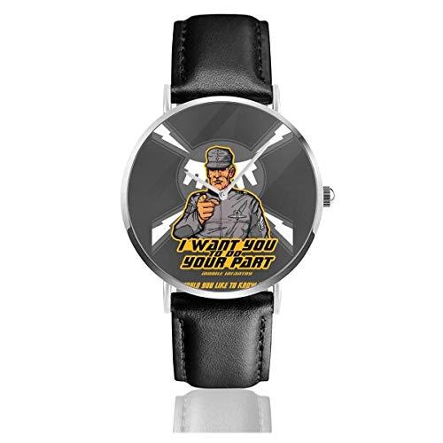 Tun Sie Ihren Teil Starship Troopers Uhren Quarz Lederuhr mit schwarzem Lederband für Sammlung Geschenk