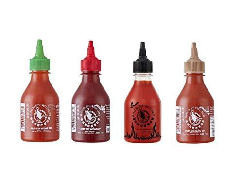 4er Set Sriracha Hot Chili Sauce versch. Sorten 4 x 200ml Chilli Soße Pamai Pai®