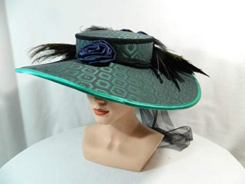 Damenhut grün blau Pfau groß Sonnenhut Gothic Ascot Anlasshut Fascinator