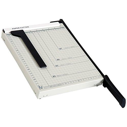 HOMCOM Papierschneidemaschine Hebelschneider Papierschneider bis DIN A4 Metall Weiß 48 x 26,5 x 5cm
