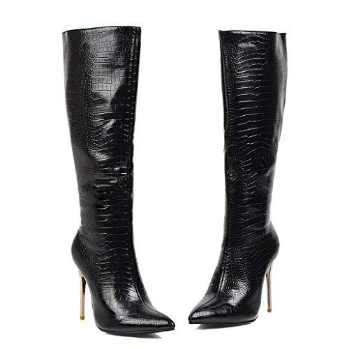 H.eternal(TM) Damen Winter Stiletto Heels Schlangenoptik Baumwolle Schuhe Kniestiefel Wanderstiefel Damen Glam Stiefel Plateau-Stiefel Chunky Heel Low Heel Boots Gr. Medium, Schwarz