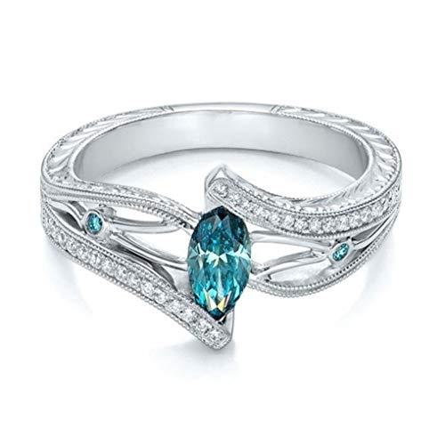 Timesuper Bague de fiançailles ou de mariage avec topaze blanche et aigue-marine pour femme Bleu lac #10