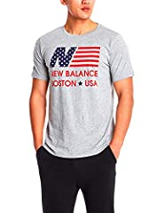 New Balance Camiseta GT EE Flag tee HGR Gris de Hombre