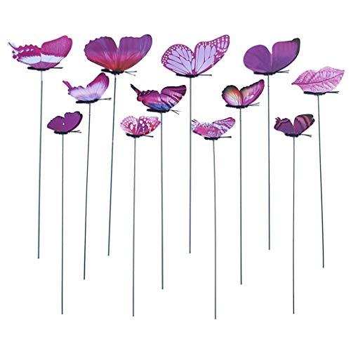 Garten Schmetterlinge Stangen Beetstecker für Hof Patio Party Deko, 12pcs/Set - Lila