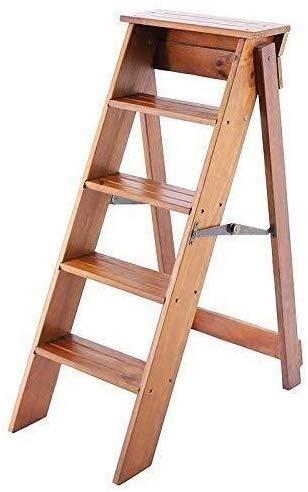 YZjk Klappbarer Trittleiter aus Holz 5 Stufen, Multifunktions-Trittleiter/Aufstiegsleiter Regal/Treppenstuhl, Geeignet für Küche/Büro/Bibliothek