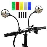 NIVEOLI 2 Pezzi Specchietto Retrovisore Bici, Specchietti per Bicicletta + 40 Pezzi Catarifrangenti Adesivi, 360 ° Rotazione Specchietti Convesso per Monopattino Elettrico, Bici Elettrica, Bike