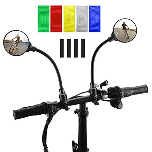 NIVEOLI 2 Piezas Espejo Retrovisor de Bicicleta + 40 Piezas Reflector de Bicicleta Pegatinas, 360° Rotativo HD Espejo Convexo Ángulo Amplio para Patinete Electrico, E-Bike, Mountain Road Bike