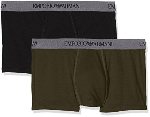 Emporio Armani  Herren Boxershorts 1116137A722,2er Pack,  Mehrfarbig (Black/Military 50720), X-Large