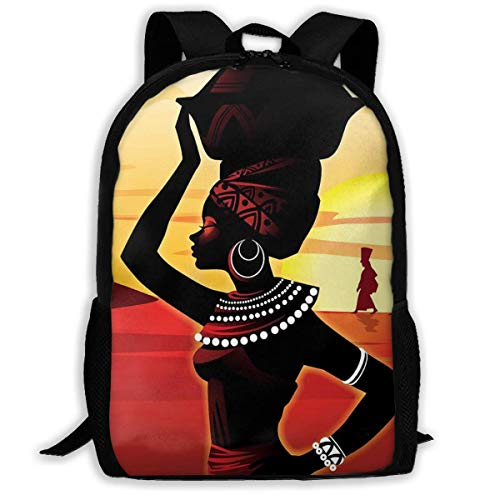 Sac à Dos Scolaire, Travel Hiking African Woman with Something on Her Head Backpacks Waterproof Big Student College High School Shoulder Bag Outdoor Backpacks for Men Women Adults