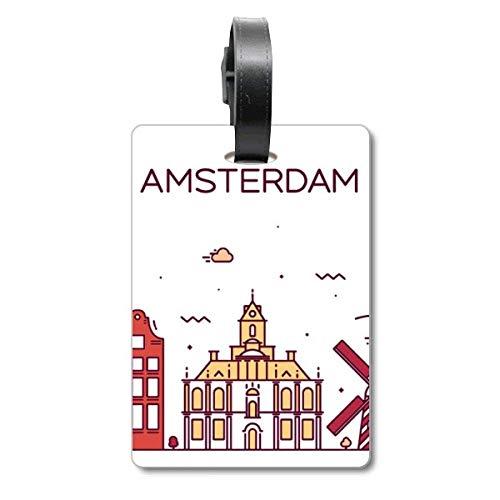 Amsterdam Flat Landmark Cruise koffer tas Tag Tourister identificatie label
