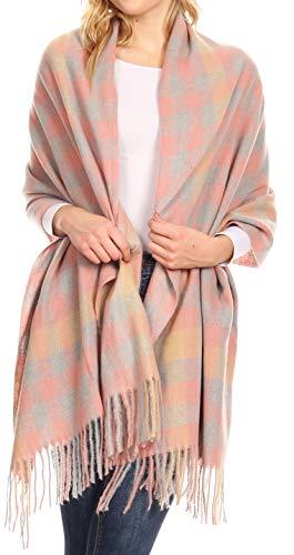 Sakkas 1746 - Iris Warm Super Soft Cashmere Feel Pashmina Scialle/Sciarpa con frange - Grigio Plaid - OS