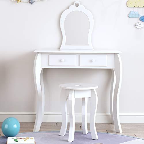 Hello-5ive Juego de tocador y taburete con espejo, mesa de maquillaje para niños, mesa de madera con 2 cajones, muebles de tocador para dormitorio para niñas de 3 a 9 años (blanco)