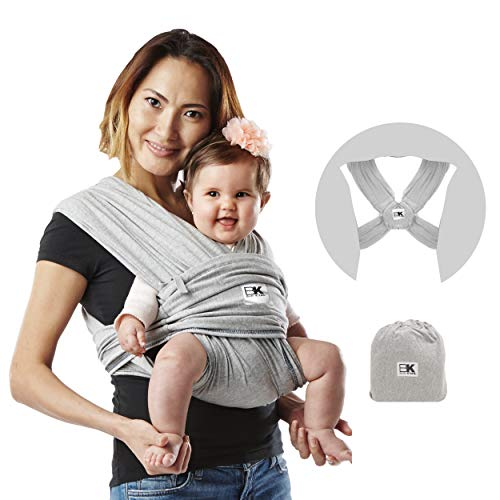 Baby K'tan Original Baby Wrap Carrier, Infant and Child Sling - Simple PreWrapped Holder for Babywearing -No Tying or Rings- Carry Newborn up to 35 lbs, Heather Grey, Women 2-4 (X-Small), Men up to 36