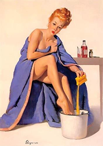 haoziggdeshoop Gitarre Bikini Pin Up Mädchen Pin K Kleid Poster Klassische Vintage Retro Kraft Leinwand Wandaufkleber Home Bar Poster Dekor Geschenk 50x70cm Rahmenlos P-6661