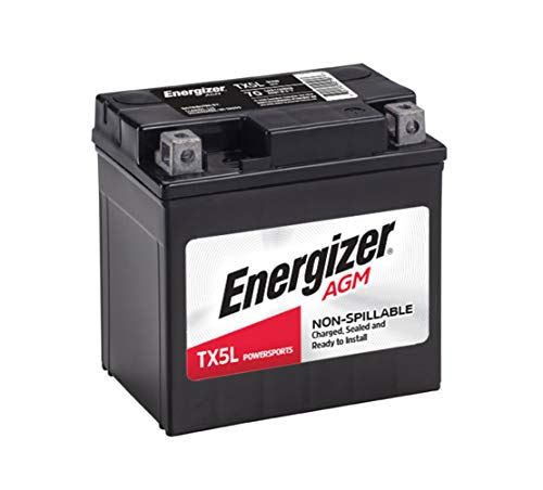 Energizer TX5L AGM Motorcycle and ATV 12V Battery, 70 Cold Cranking Amps and 4 Ahr, Replaces: YTX5L-BS and others