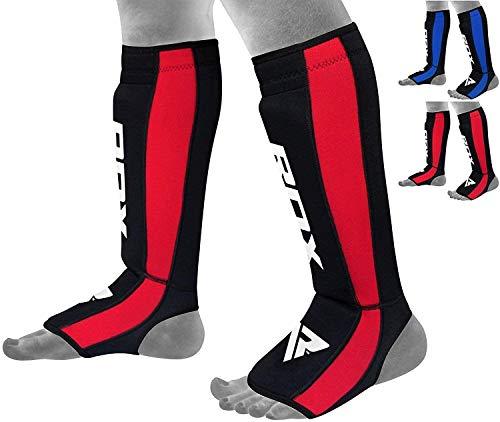 RDX Neopren MMA Schienbeinschoner Muay Thai Schienbeinschutz Kampfsport Kickboxen Spannschutzer, Rot, Gr. S-M